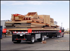 Wall panels and stair package on truck and ready to be sent to construciton site